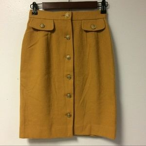 Mustard yellow Button front skirt